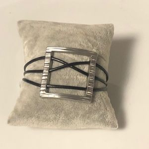 Square Pendant with leather cord bracelet